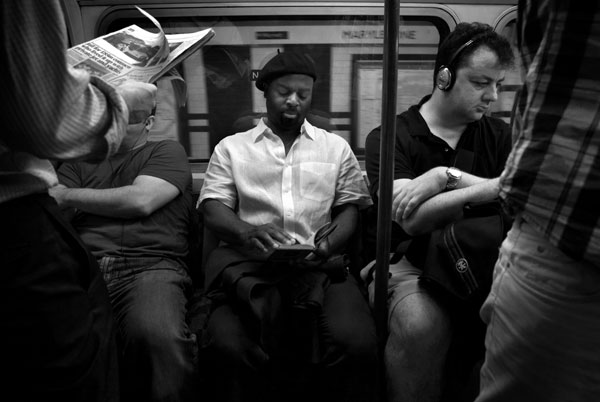 Ben Okri sits for his portrait on the Bakerloo Line in London.