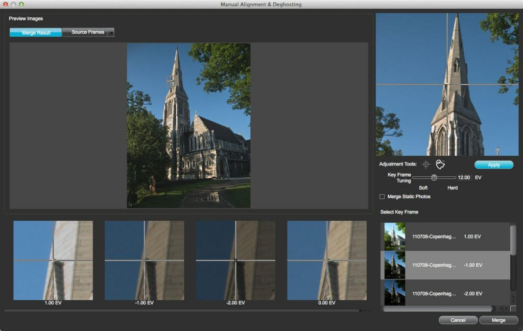 New algorithms in Expose 3 make it easier to align bracketed