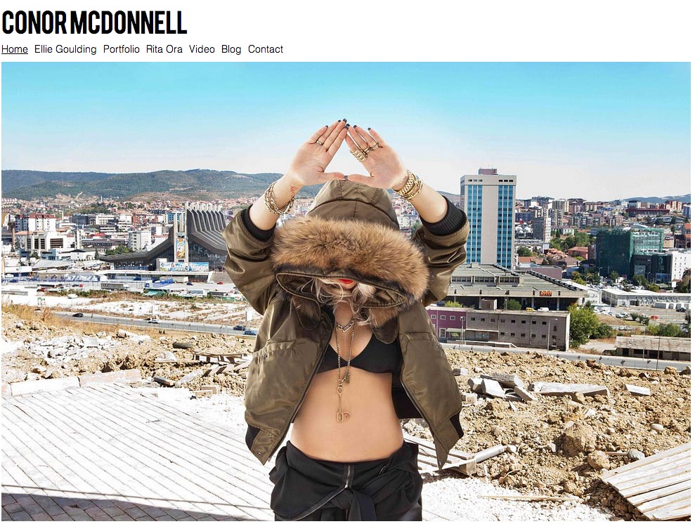 A screen grab of British pop star Rita Ora on McDonnell's portfolio, photo © Conor McDonnell