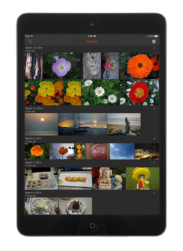 The Eyefi app on an iPad.